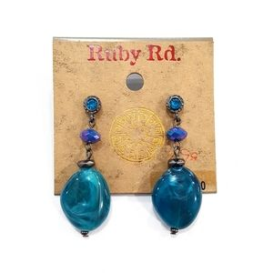 NWT Ruby Rd. Blue AB Beaded Dangle Earrings